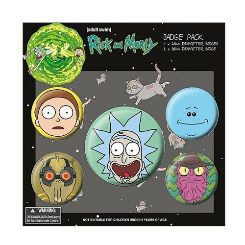 Rick and Morty Heads Button Badge Pack